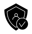 digital shield protect solid icon shield and user vector image vector image