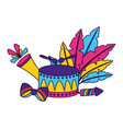 drum fireworks feathers carnival vector image vector image