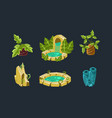fantasy landscape elements set palm trees vector image vector image