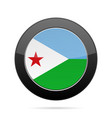 flag of djibouti shiny black round button vector image vector image