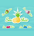 green sticker smoothie fruit shake logo set design vector image