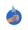 hand holding building trowel symbol of the vector image vector image