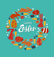 hand lettering happy easter card vintage wreath vector image