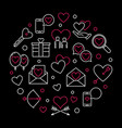 happy valentines day round outline vector image vector image
