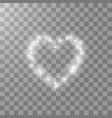 hearts with light stars on transparent background vector image vector image