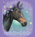 horse portrait with flowers4 vector image vector image