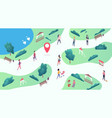 isometric park map with walking listening to vector image vector image