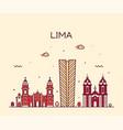 lima skyline peru trendy linear style vector image