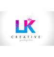 lk l k letter logo with shattered broken blue vector image vector image