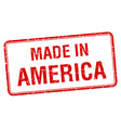 made in America red square isolated stamp vector image vector image