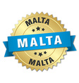 Malta round golden badge with blue ribbon vector image vector image