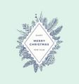 merry christmas abstract botanical logo or card vector image vector image