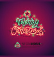 merry christmas colorful neon sign vector image vector image