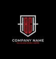 monogram bc logo design shield initial letter bc vector image vector image