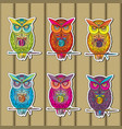 owls sticker set of multicolored on wooden in vector image vector image