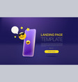 promo landing page template with modern vector image