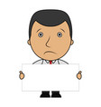 sad businessman with holding blank sign vector image vector image