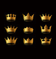 set golden king crowns and icon on black vector image