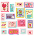 set isolated valentines day postage stamps vector image