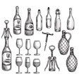 set wine bottles glasses and corkscrews vector image vector image