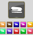 Stapler and pen icon sign Set with eleven colored vector image vector image