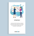 strategy woman on presentation startup planning vector image vector image