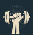 strong bodybuilder man arm holding dumbbell doing vector image vector image