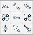tools icons set with chainsaw watch scissors and vector image vector image