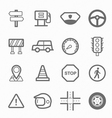 Traffic symbol line icon set vector image