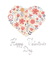 Valentines day card with floral heart vector image vector image