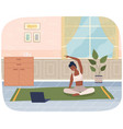 woman doing yoga exercise young dark skinned fit vector image