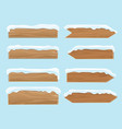 wood banners planks covered with snow festive vector image vector image