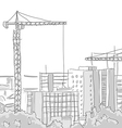 building construction tower crane draw graphic vector image