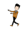 businessman character standing suit clothes vector image