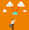 Businessman risk with deflation and inflation vector image