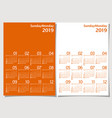 calendar 2019 year simple minimalism style vector image
