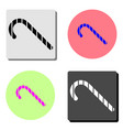 christmas candy cane flat icon vector image