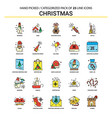 christmas flat line icon set - business concept vector image