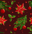 christmas pattern with berry ball poinsettia vector image