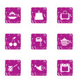 cookhouse icons set grunge style vector image