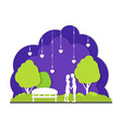 couple in night park city landscape background vector image vector image