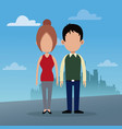 couple social urban background vector image