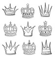 crown various hand draw collection vector image vector image
