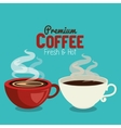 cups coffee hot red and white graphic vector image