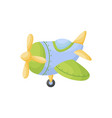 cute blue-green airplane on white background