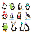 cute cartoon penguins winter holidays vector image vector image