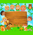 cute children and pets near wooden blank banner vector image