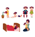 daily routine set little girl helping mother vector image vector image