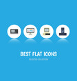 flat icon laptop set of computer display vintage vector image vector image