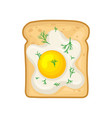 flat icon of tasty sandwich with fried egg vector image vector image